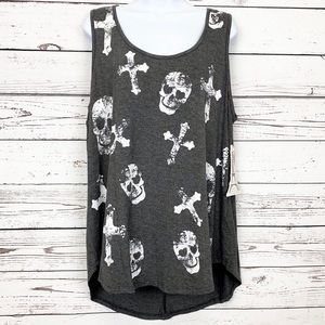 FRENCH PASTRY gray tank top white skulls cross NWT